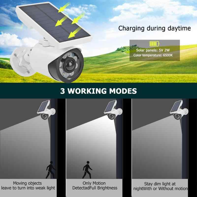 Солнечная энергия Манекен камера безопасности водонепроницаемый поддельная камера наружная внутренняя пуля светодиодный светильник монитор Противоугонная Домашняя индукционная лампа