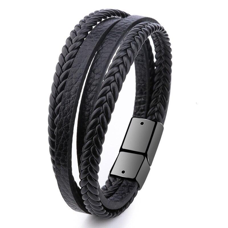 Мужской браслет, многослойный кожаный браслет с магнитной застежкой, Воловья кожа, плетеный многослойный браслет, модный браслет на руку, pulsera hombre - Окраска металла: 1