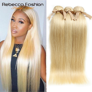 Mechones de miel rubia Rebeca 613, mechones de cabello lacio indio, extensiones de cabello humano Remy 100% 1/3/4 mechones de 10 a 26 pulgadas