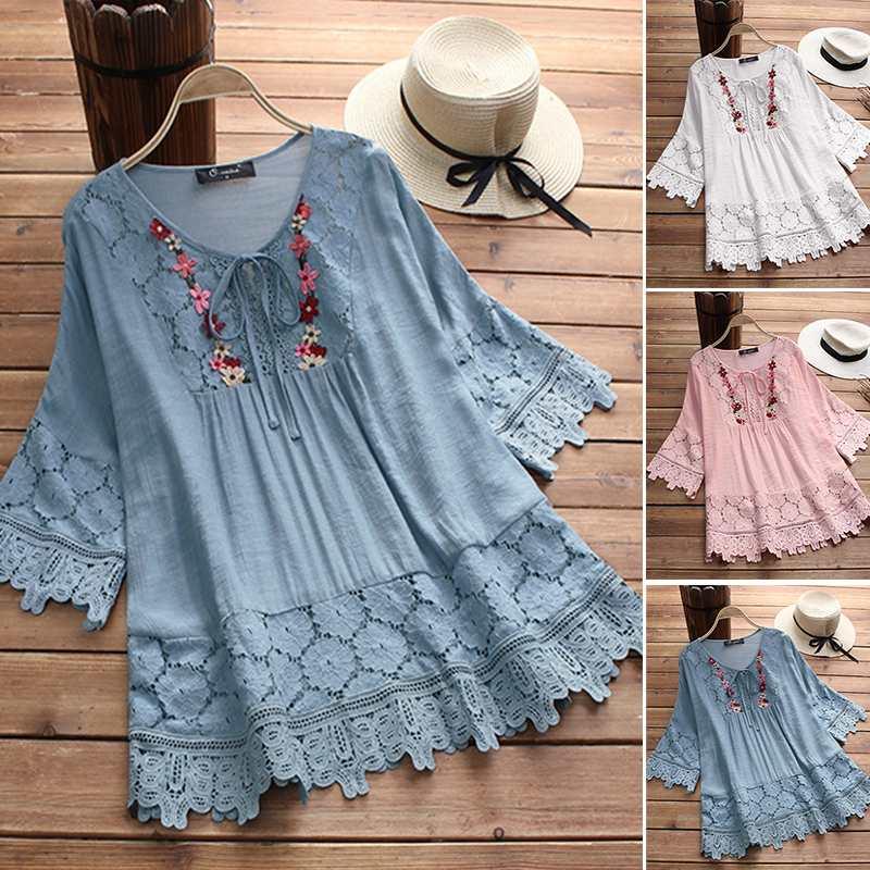 ZANZEA 2021 Women's Lace Crochet Blouse Elegant Embroidery Tops Hollow Lace Up Shirts Female Hollow Blusas Plus Size Chemise 5XL