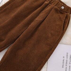 Image 3 - 女性ハーレムパンツプラスサイズパンツ秋冬コーデュロイパンツカジュアル高弾性黒XL 5XL