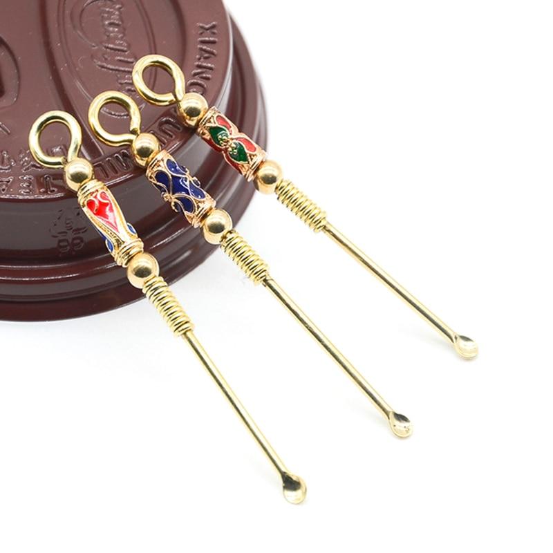 1pc Ear Spoons Retro Brass Portable Ear Cleaning Tool Ear Pick Ear Wax Remover Curette Cleaner Keychain Pendants