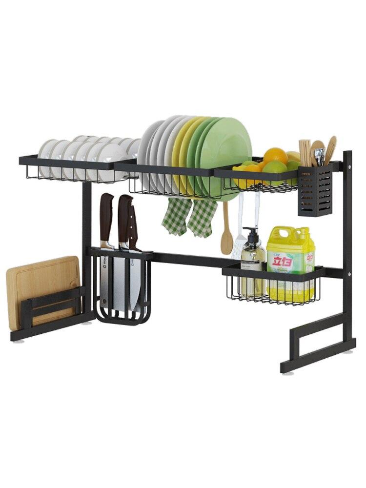 Support de vaisselle en acier inoxydable multi-usage Stready évier égouttoir cuisine Oragnizer support de rangement plat étagère forte portant