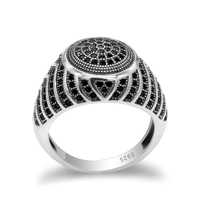 Black CZ 925 Sterling Silver Turkish Handmade Mercedes BENZ Symbol Ring All Size