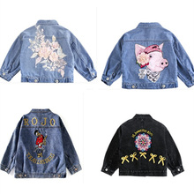 Baby Girls Jacket Coat Flower Embroidery New Fashion Spring Autumn Clothes Chirldren Denim Jackets Coats  Outwear Casual
