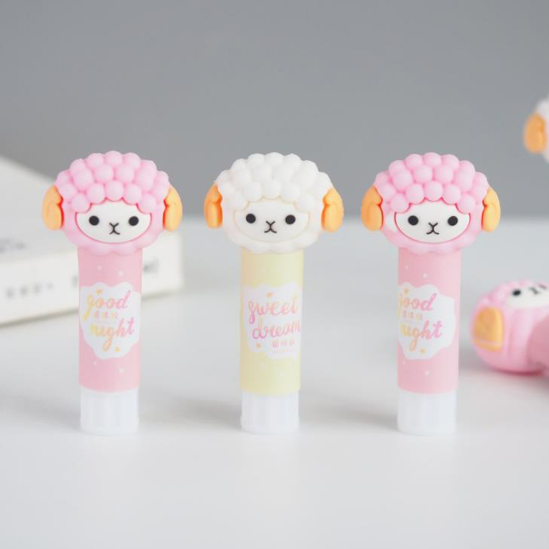 1 Pcs Cartoon Animal Baby Sheep Lamb Alpaca Soft Rubber Solid Glue Sticks High Viscosity Strong Adhesive Glue Stick Stationery