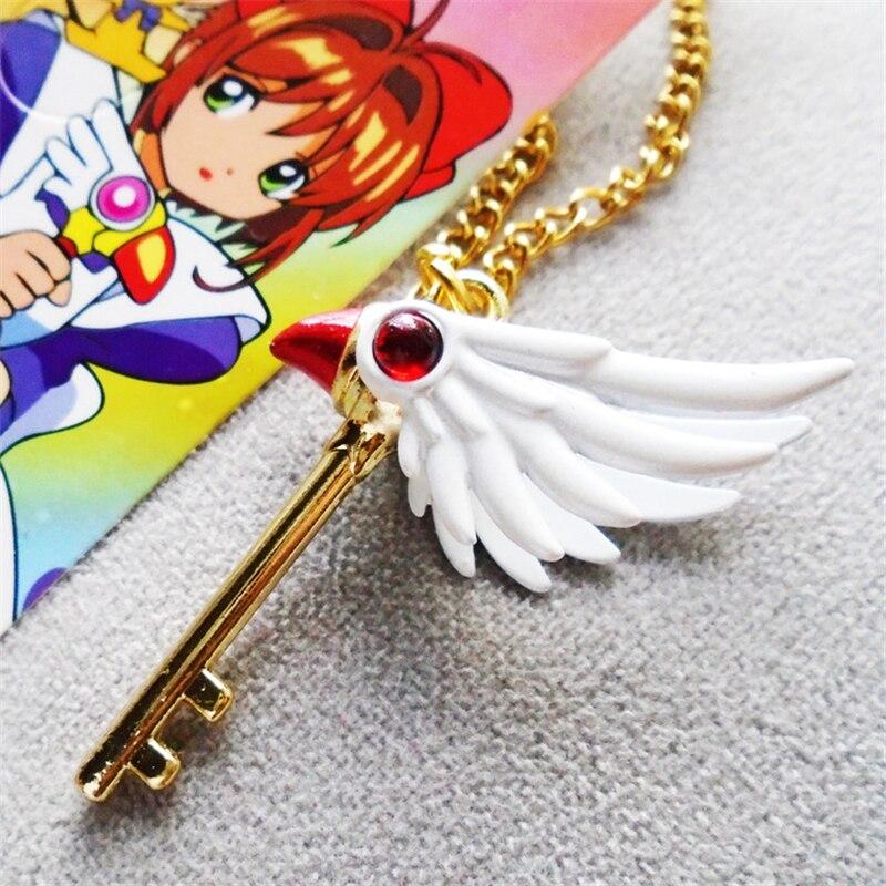 Card Captor Keychain Necklace KINOMOTO SAKURA Necklace Pendant Pendant Accessories Anime  Lovely Girl Pendant Keychain