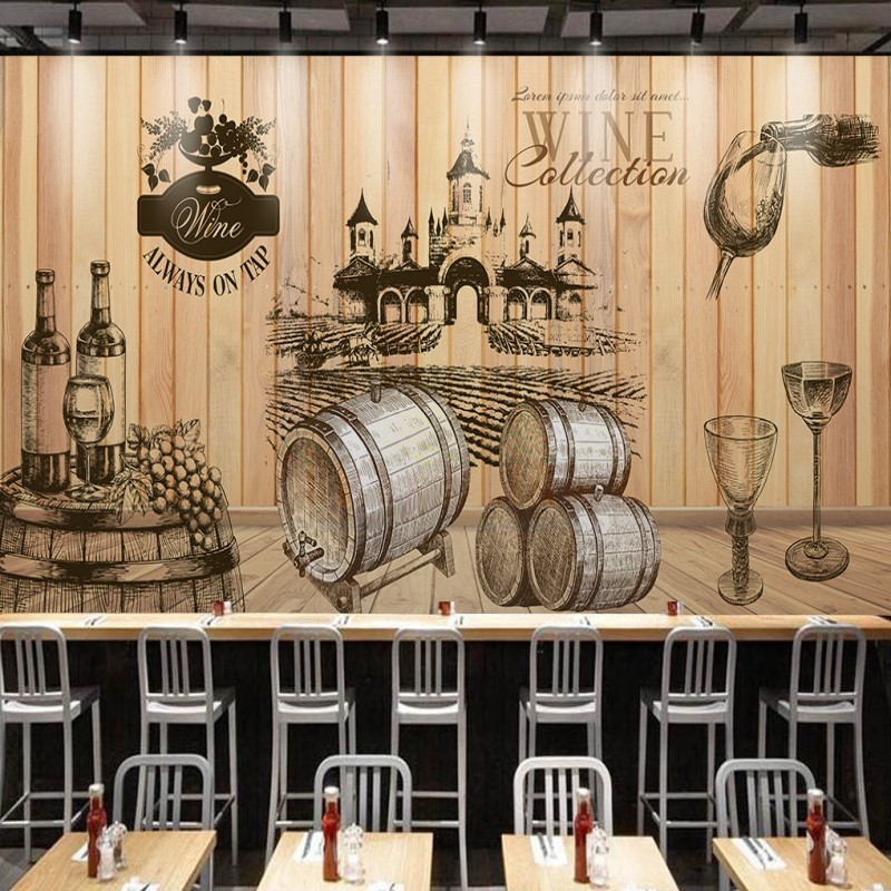 Drop Shipping Custom Photo Wallpaper Grapes Wine Chateau Wooden Backdrop Mural Restaurant Shopping Mall Gallery Wallpaper