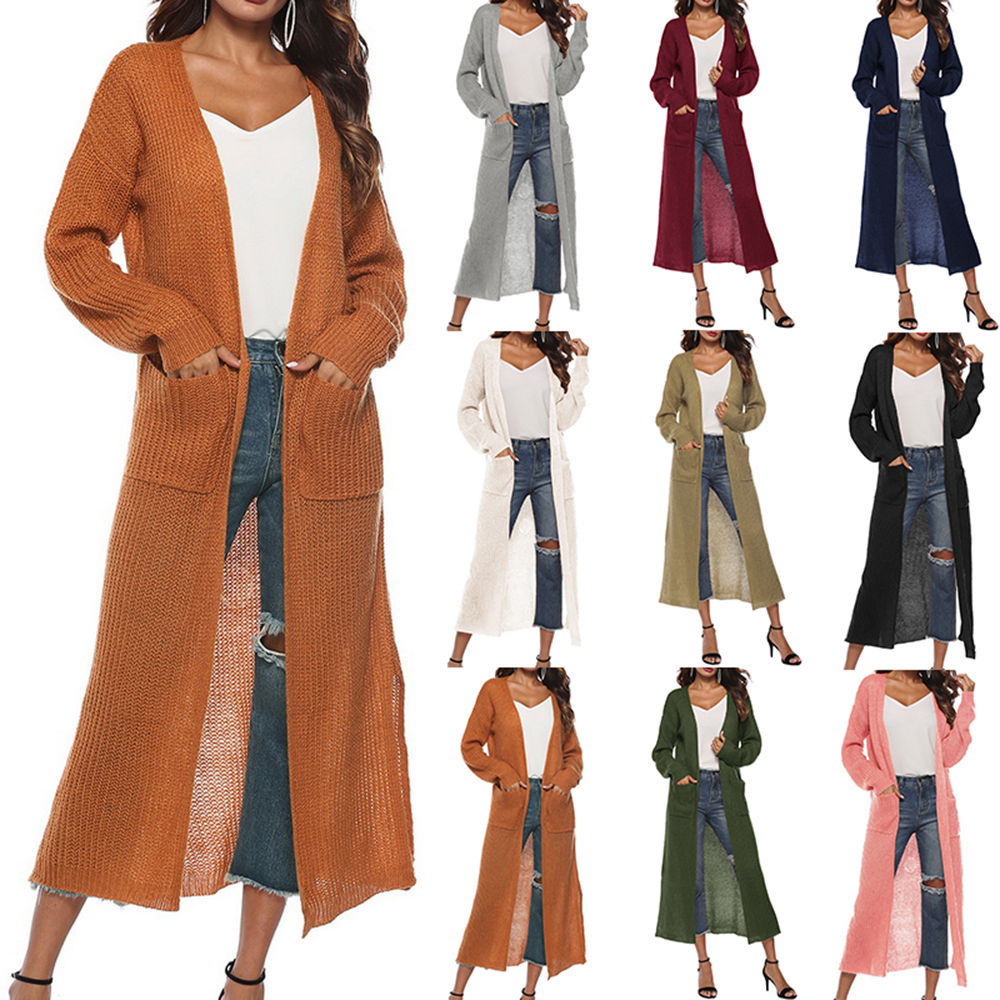 New Women's Autumn Split Slim Cardigan Casual Long Knitted Sweater Warm Solid Open Front Sweaters Long Sleeve Pocket Female Coat