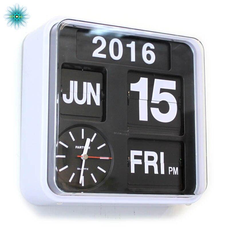 Rétro numérique Flip horloge Auto calendrier Flip horloge salon décoration Page créative de luxe mur montre décor à la maison 9 pouces