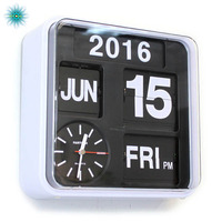 Retro Digital Flip Clock Auto Calendar Flip Clock Living Room Decoration Page Creative Luxury Wall Watch Home Decor 9 inch