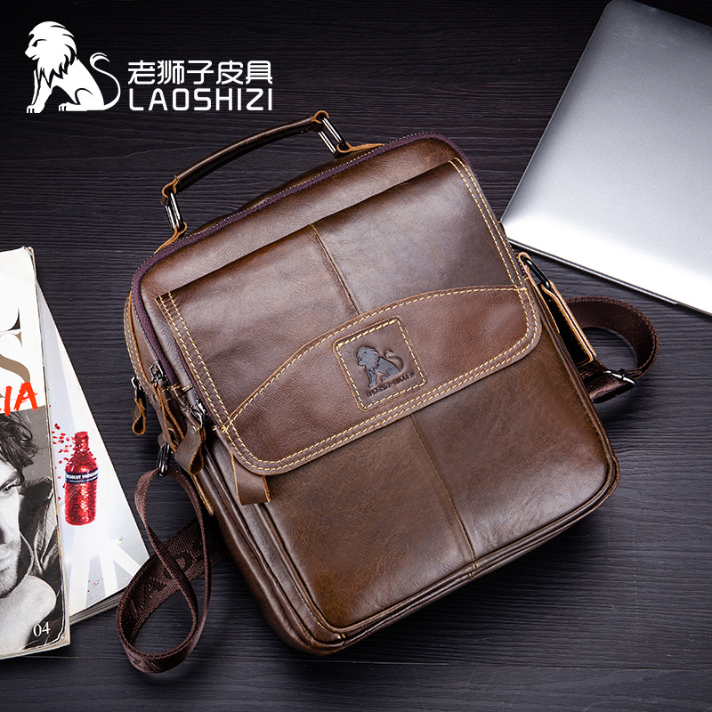 2020 NewGenuine Leather Male's Crossbody Bag Casual Business Leather Men's Messenger Bag Vintage Men Big Bag Zipper Shoulder