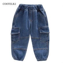 COOTELILI fajne chłopięce dżinsy dla chłopców moda dziecięce spodnie dziecięce ubrania dla chłopców dzieci odzież dżinsowa chłopiec zwykłe długie spodnie tanie tanio Na co dzień Pasuje prawda na wymiar weź swój normalny rozmiar pants Elastyczny pas Unisex Wysoka Stałe Luźne Distrressed