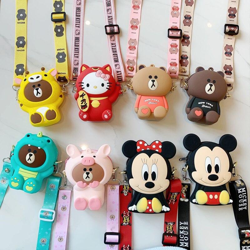 Cute Cartoon Women's Bags Portable Female Soft Silicone Shoulder Bags Kawaii Crossbody Clutch Handbags Kids Bus Credit Card Box