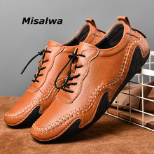 Misalwa 38-46 Big Size Men Leather Moccasins Handmade Soft Loafers Men Flats Leisure Outdoor Sneakers Winter / Spring Men Shoes(China)