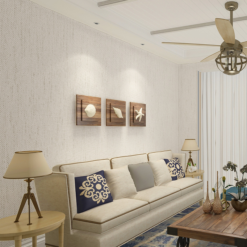 Simple Flax Pure Plain Color Seamless Wall Cloth Home Improvement Living Room Bedroom TV Backdrop Wall Thick Silk Non-Woven Wall