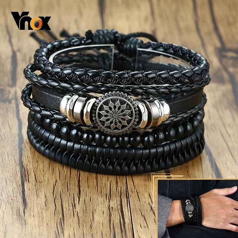 Vnox 4pcs/ set Adjustable Leather Bracelets for Men Braided PU Black Brown Bangle Life Tree Leaf Rudder Charm Bracelet Gift