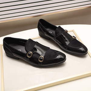 Image 5 - FELIX CHU Mens Wedding Loafers Gentlemen Banquet Party Dress Shoes Patent Leather with Horse Hair Casual Monk Strap Mens Shoes