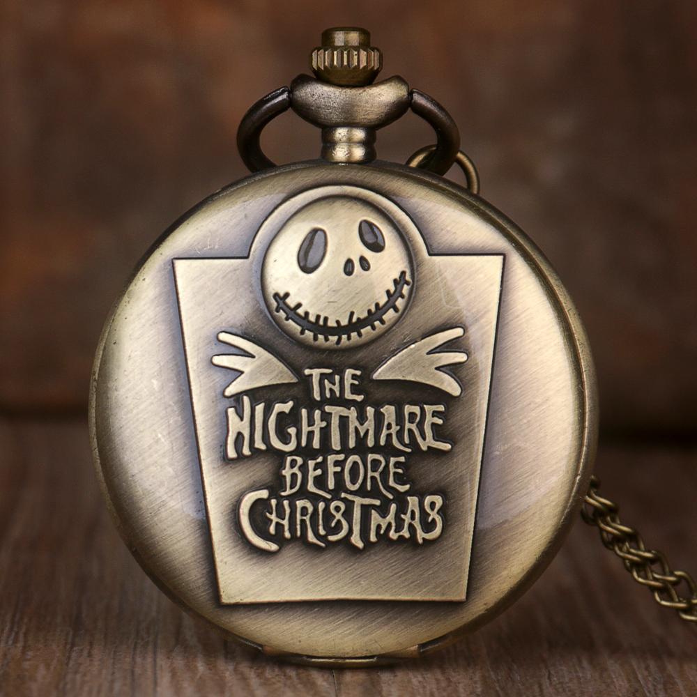 Vintage The Nightmare Before Christmas Pocket Watch Jack Skellington Tim Burton Hot Movie Theme Kid Necklace Pocket Watches