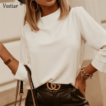 Elegant Women Blouse Long Sleeve O Neck Casual Blouses Solid Black Pink White Office Work Ladies Shirts Plus Size
