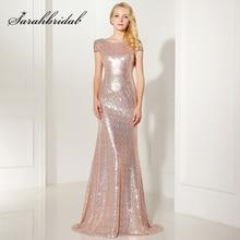 Vestidos largos de dama de honor de sirena de oro rosa brillante de 2019 tallas grandes vestido de fiesta de boda de manga corta vestidos formales OS347