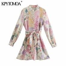 KPYTOMOA-Vestido corto de lino estampado Floral para mujer, vestido Vintage de manga larga con cuello redondo y cinturón, 2021