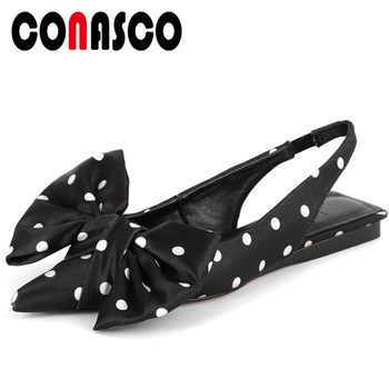 CONASCO Summer New Arrival Women Sandals Fashion Sweet Wedding Casual Polka Dot Butterfly-Knot Pointed Toe Flat With Shoes Woman