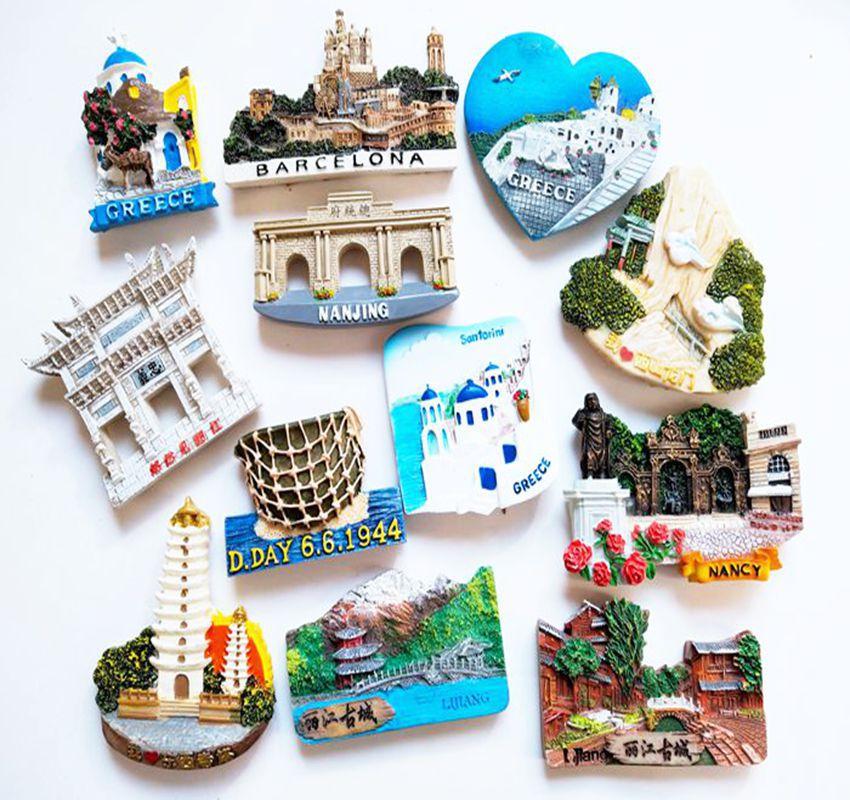Européenne grecque pittoresque touristique Souvenirs français Paris espagne Yunnan Lijiang ancienne ville grèce réfrigérateur autocollants