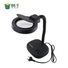 BST-208L Регулируемая лампа светодиодный светильник увеличительное стекло Настольная лампа для чтения 5X 10X увеличение для ремонта телефона