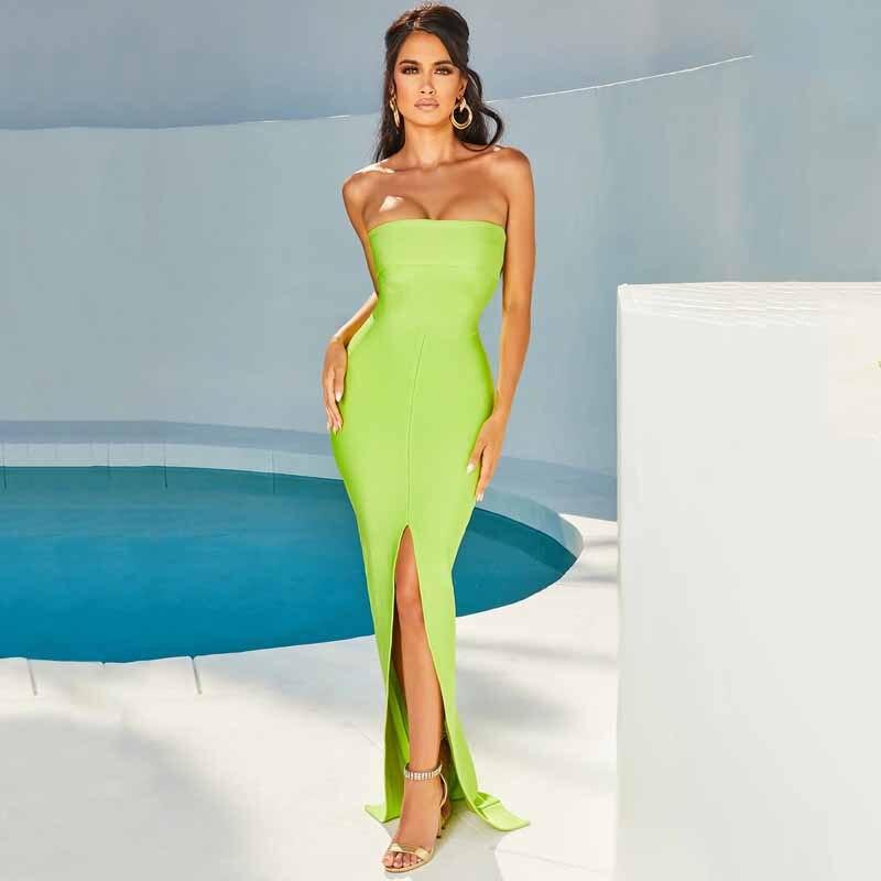 ERDAOBEN Sexy robe de soirée femmes 2019 sans bretelles fente longue Maxi robe Elgantr automne bretelles robes tenue de club Vestidos H5218