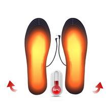 Зимняя теплая 1 пара USB стельки для обуви с подогревом, согревающие стельки для ног, теплые носки для ног, зимние уличные стельки с подогревом, можно отрезать