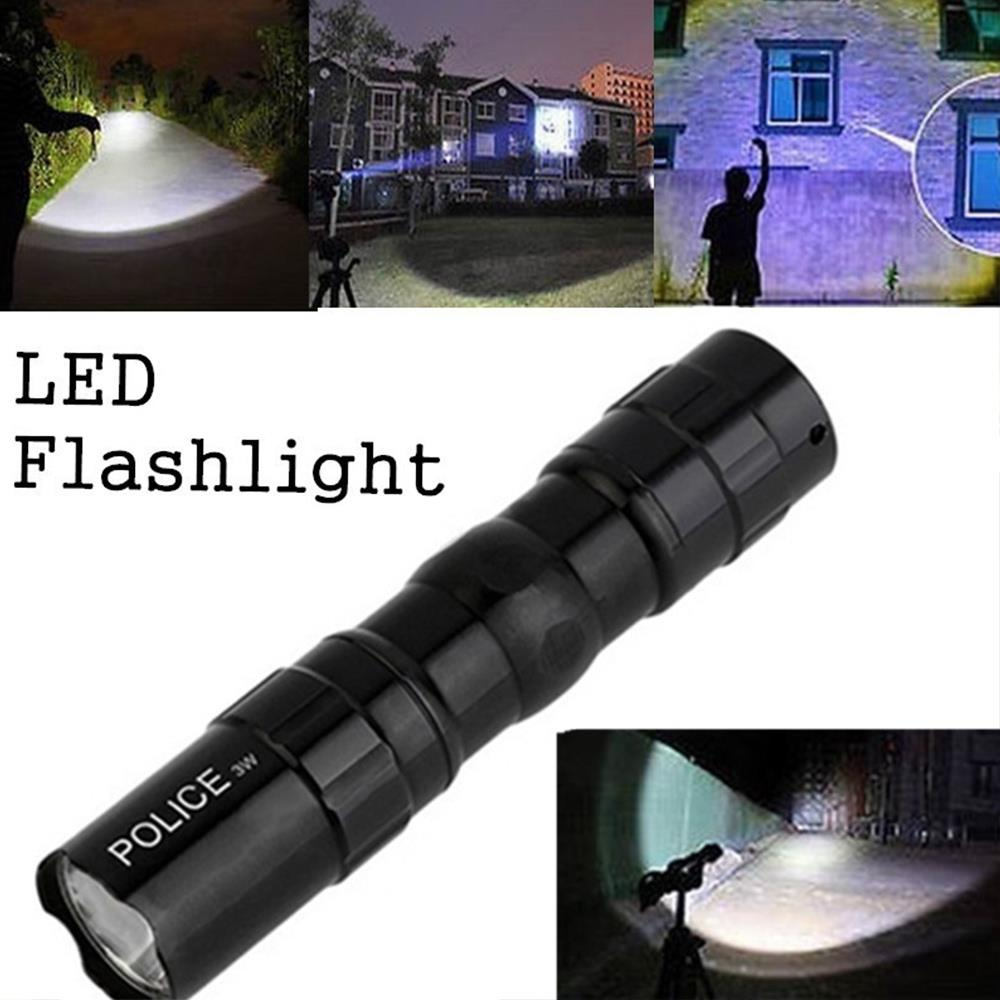 LED Flashlight Torch Emergent Lamp Portable Durable SuperBright 3W Black Waterproof Climbing Outdoor Sporting Tactical Military
