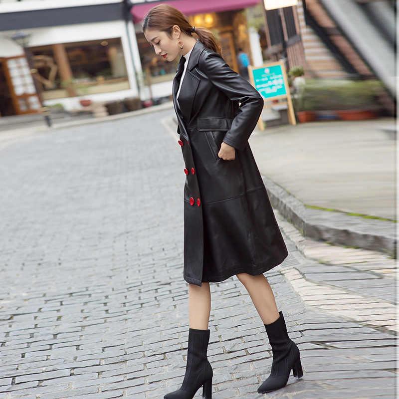 리얼 자켓 여성 겨울 의류 2020 Streetwear 캐주얼 정품 가죽 롱 코트 패션 양피 코트 LW924