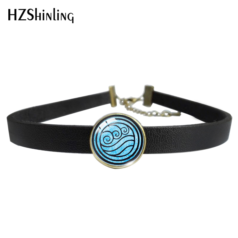 2020 Hot Summer Avatar The Last Airbender Glass Dome Leather Choker Necklace Kingdom Necklace