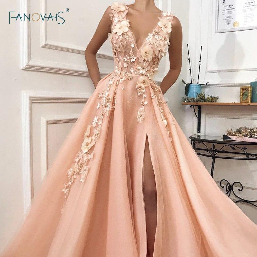 Elegant Evening Dress 2019 V Neck A-Line Flower Beaded Slit Formal Evening Party Dress Long Prom Dress Vestido De Fiesta NE85