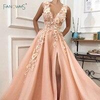Elegant Evening Dress 2019 V Neck A Line Flower Beaded Slit Formal Evening Party Dress Long Prom Dress Vestido de Fiesta NE85