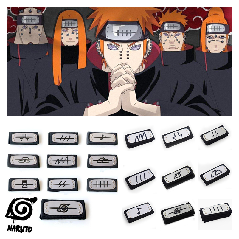 Anime Naruto Akatsuki Pain Uchiha Itachi Cosplay Prop Ninja Symbol Headband Konoha Kakashi Headwear Armband Party Halloween Toys