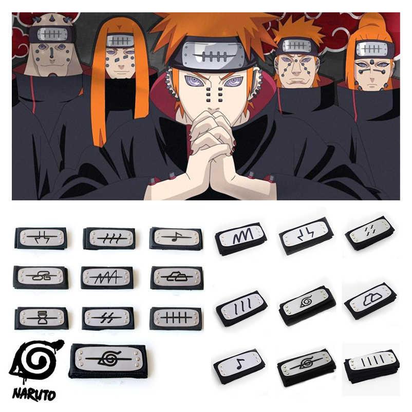 Anime Naruto Akatsuki Pain Uchiha Itachi Cosplay Prop Ninja Simbolo Della Fascia Konoha Kakashi Copricapi Bracciale Festa di Halloween Giocattoli