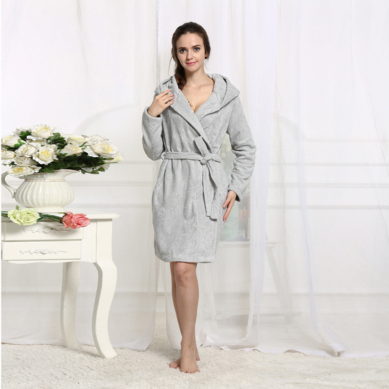 Cotton Winter Bathrobe Terry Cute Hooded Dressing Gowns For Women