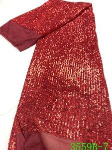 Image 2 - Tissu en dentelle à paillettes rouge populaire, tissu en dentelle africaine de haute qualité, avec paillettes, tissu en dentelle française pour femmes, mariage, APW3559B, 2020