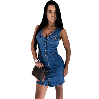 Women Denim Dress Summer Sleeveless Dresses Vestidos Ladies Sexy Bodycon Dress Mini Button Dresses Sundress Streetwear Femme D30 button front sleeveless dress