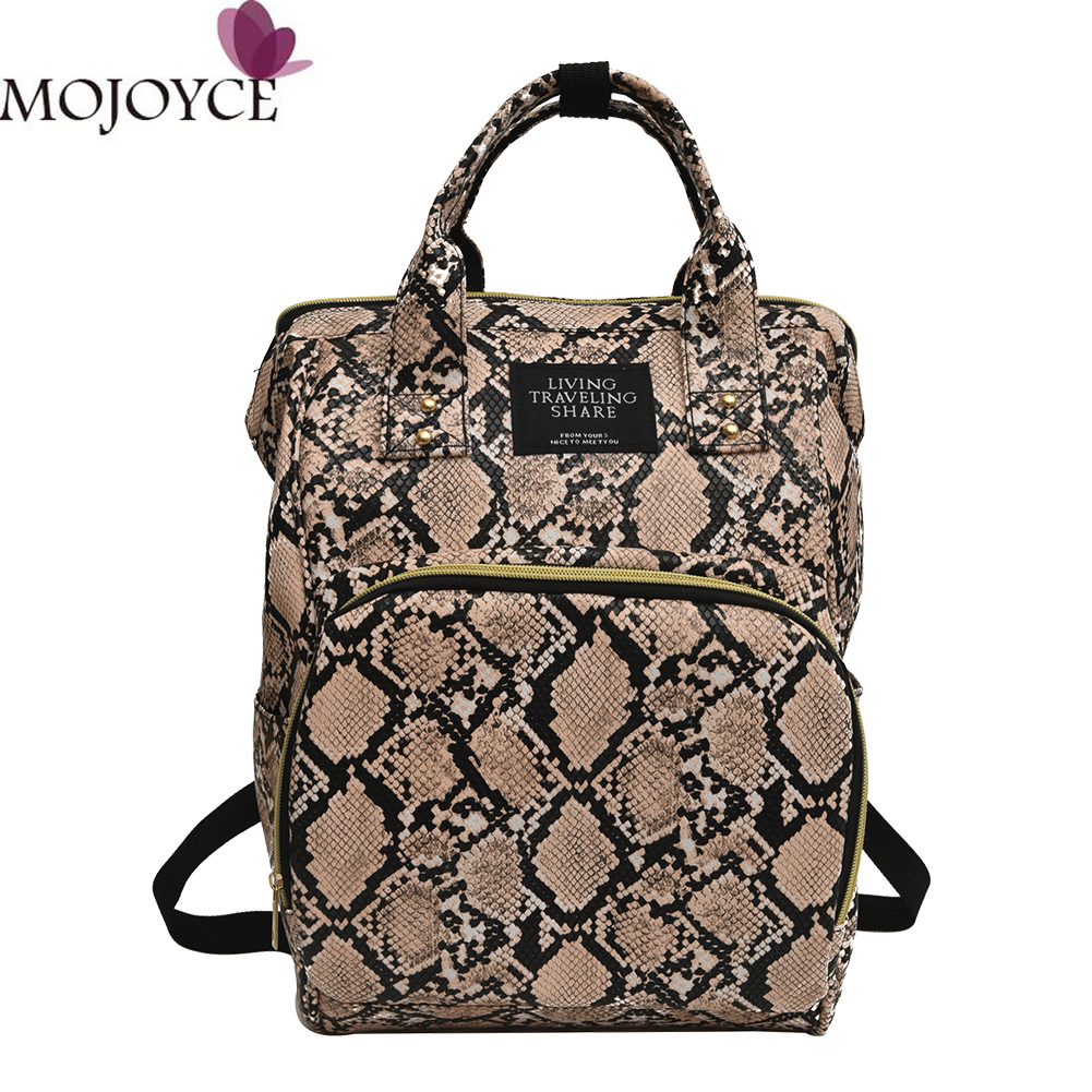 Snake Print Mommy Travel Backpacks Large Capacity PU Leather Maternity Nappy Travel Shoulder School Bags Daily Book Bags Student