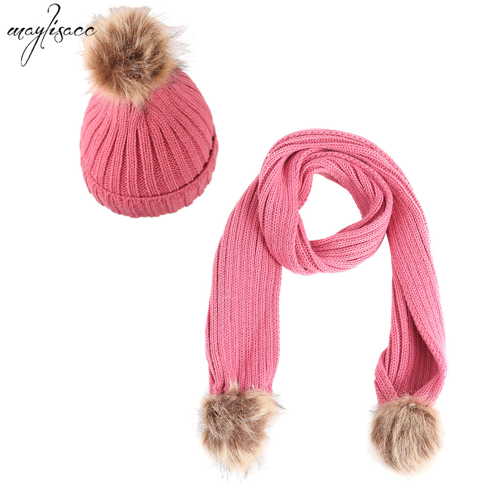 Maylisacc 2019 New 6 Color Children's Knitted Hat Scarf Set Autumn And Winter Warm Pomp Hat With Scarf 2 Pcs Set For Girls Boys