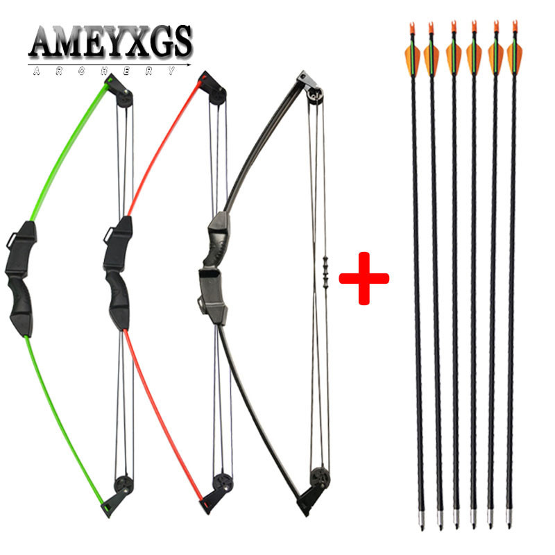 12lbs Archery Children Compound Bow Set With Fiberglass Arrows Youth Junior Practice Training Bow Shooting Game Gift For Kids
