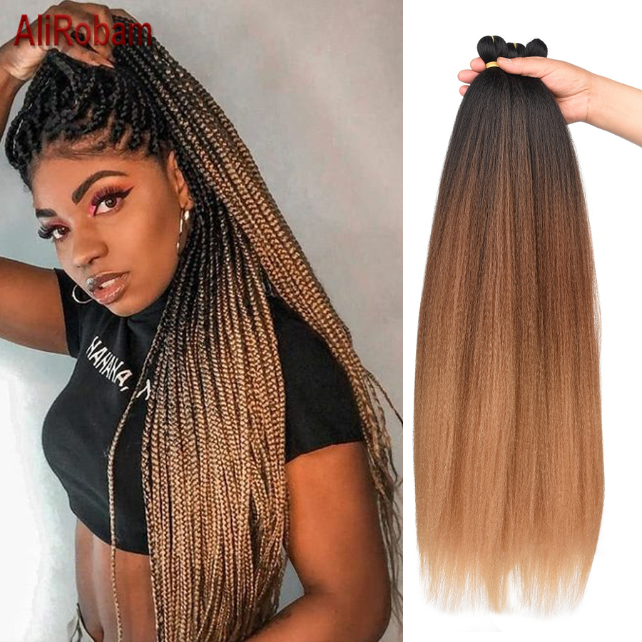 Long Pre Stretched Easy Braid Hair Ombre Jumbo Braiding Hair Black Brown Blonde Synthetic Crochet Braids Hair Extensions