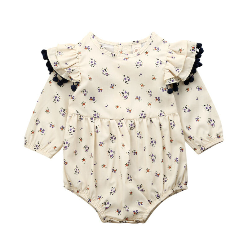 Emmababy Infant Baby Girl Clothes Fashion Long Sleeve Flower Printed Tassel Ruffles Bodysuit Outfit 0-2Y Autumn
