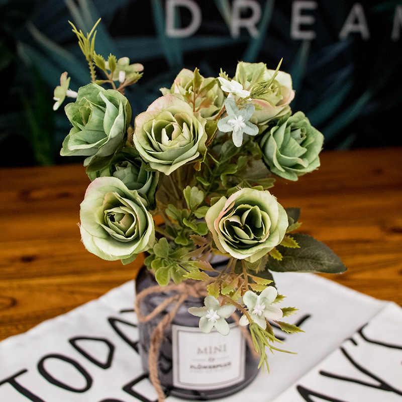 Musim Gugur Palsu Teh Mawar Sutra Bunga Jatuh Gerbera Daisy Plastik Buatan Bunga untuk Pernikahan Rumah Dekorasi Kamar Dekorasi