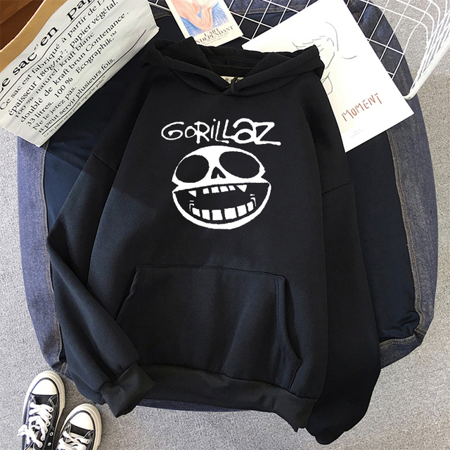 Gorillaz Skull  Funny Print Hoodie Kpop Korean Style Loose Sweatshirt Korean Fashion Hip Hop All-match Leisure Harajuku Hoodie 1