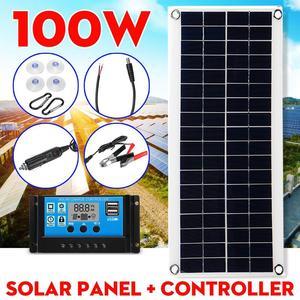 100 Вт 18В Портативный Панели солнечные Dual USB Мощность Дополнительный внешний аккумулятор с 30A ШИМ контроллер Крокодил Зажимы для автомобиля З...