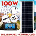 100W 18V Painel Solar Portátil Dual USB Carregador de Banco de Potência Com Controlador PWM 30A Clips De Crocodilo Carro polycrystal células solares